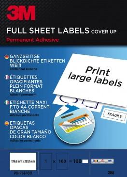 3M Ganzseitige blickdichte Etiketten für Kopierer 199.6 x 289.1 mm 100 Etiketten
