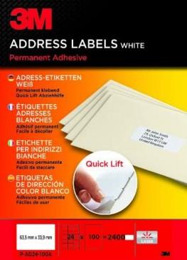 3M Lift Adress-Etiketten für Kopierer 63.5 x 33.9 mm, 2400 Etiketten
