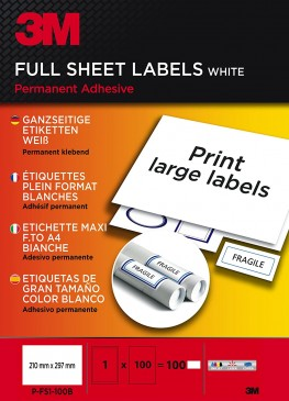 3M Ganzseitige Etiketten für Kopierer 210 x 297 mm,100 Etiketten