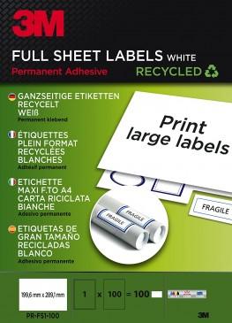 3M Ganzseitige Etiketten für Kopierer, Laser 199.6 x 289.1 mm, 100 Etiketten