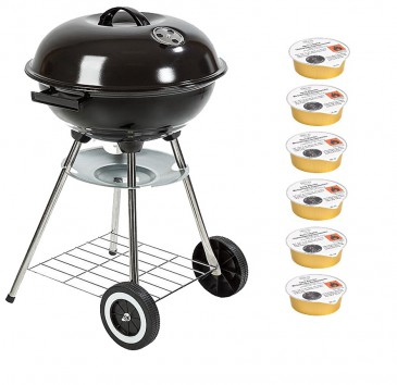 "BBQ ""Chief"" Holzkohle-Grill - Kugelgrill / Rundgrill Ø 44 cm, schwarz"