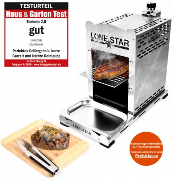 "LoneStar ""StarBurner"" Edelstahl Beef Steak Grill bis 800 C° Gasgrill"