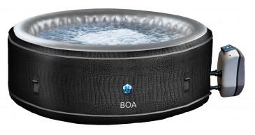 JUNG BOA Design Whirlpool aufblasbar rund, Krokodil-Optik, TÜV geprüft, 5 Personen SPA Selbstaufblas
