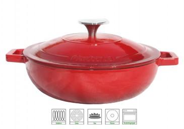 Brabantia Gussbräter Induktionsfähig 3 Liter Ø 25cm flach , rot
