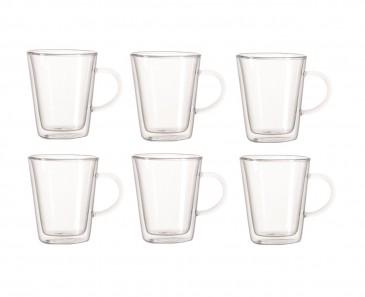 Doppelwandiges Glas mit Henkel 250ml, 6er Set