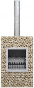 Barbecook Ferro650 Gabionenkamin mit Grillrost Terassenofen Feuerstelle 66x40x100,5cm, Holzofen Gril