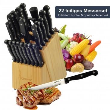 Jung Alpina Messerset im Messerblock 22 TLG, Holzblock + Küchenmesser