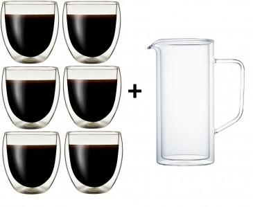 Klasique Doppelwandige Gläser 250 ml,6er Set +Doppelwandige Karaffe 1L