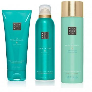 RITUALS KARMA Shampoo 250ml + Duschgel 200ml + Conditioner 200ml, 3er Set, inkl Filabe Pflegetücher