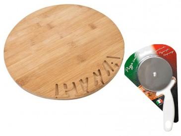 12er Bambus Pizza-Teller Set ø28 cm, Stärke - 1,5 cm + 1x großer Pizzaschneider