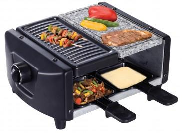 SAVOIE RG83 2in1 Raclette-Grill / Steingrill für 4 Personen, silber