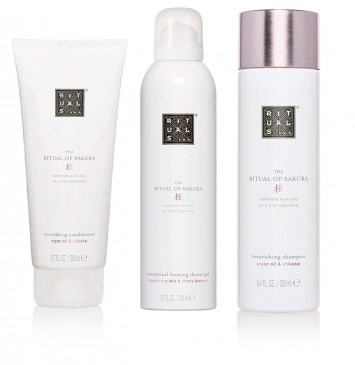 RITUALS SAKURA Shampoo 250ml + Duschgel 200ml + Conditioner 200ml, 3er Set, inkl Filabe Pflegetücher