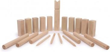 Sena Kubb Wikingerschach 21Tlg aus Holz -Sommerspiele für Garten Park Terrasse Wikingerspiel
