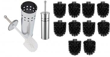 WC Bürstengarnitur silber inkl. 10 Ersatzbürsten, 12mm Gewinde