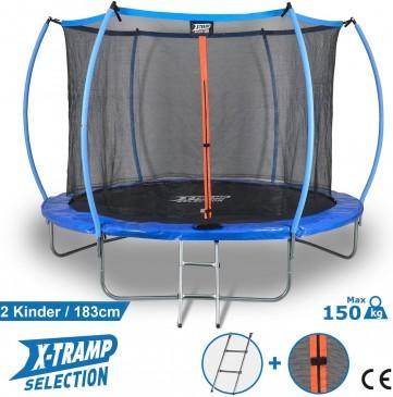 Sena Trampolin Ø 183 cm TÜV geprüft Gartentrampolin für 2 Kinder oder 1 Erwachsener, Hüpf Spielgerät