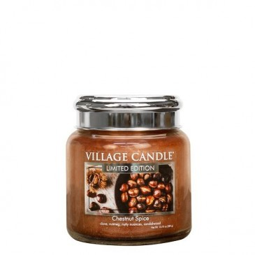 Village Candle Chestnut Spice Duftkerze im Glas 389 Gramm, Brenndauer 105 Std, Raumkerze, Kerze