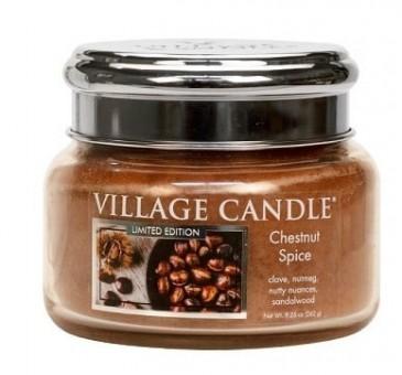 Village Candle Chestnut Spice Duftkerze im Glas 262 Gramm, Brenndauer 55 Std, Raumkerze, Kerze