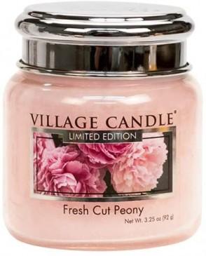 Village Candle Fresh Cut Peony Duftkerze im Glas 389 Gramm, Brenndauer 105 Std, Raumkerze, Kerze,